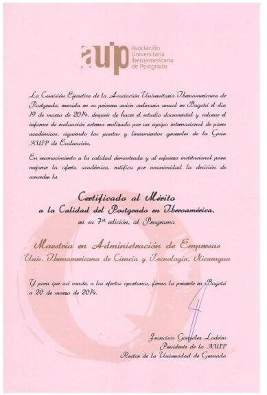 UNICIT recibe el Premio AUIP a la Calidad del Postgrado en Iberoamérica